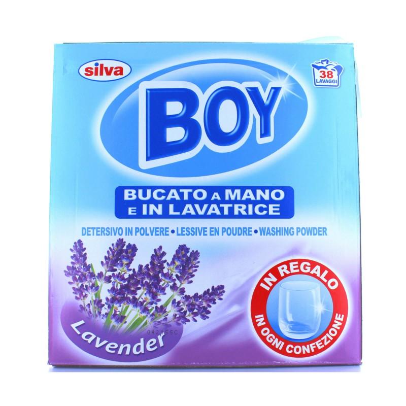 BOY DETERSIVO BUCATO A MANO E LAVATRICE IN POLVERE LAVENDER FUSTINO 38 LAVAGGI 2,5 KG + BICCHIERE