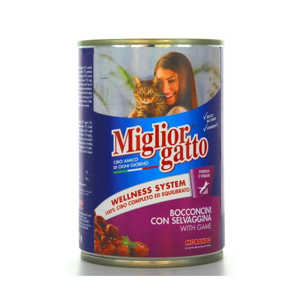 MIGLIOR GATTO BOCCONCINI SELVAGGINA LATTINA 405 GRAMMI, NUTRIZIONE, S006626, 18378