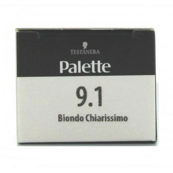 PALETTE COLORAZIONE PROFESSIONALE PERMANENTE IN CREMA - TUBO 9,1 BIONDO CHIARISSIMO