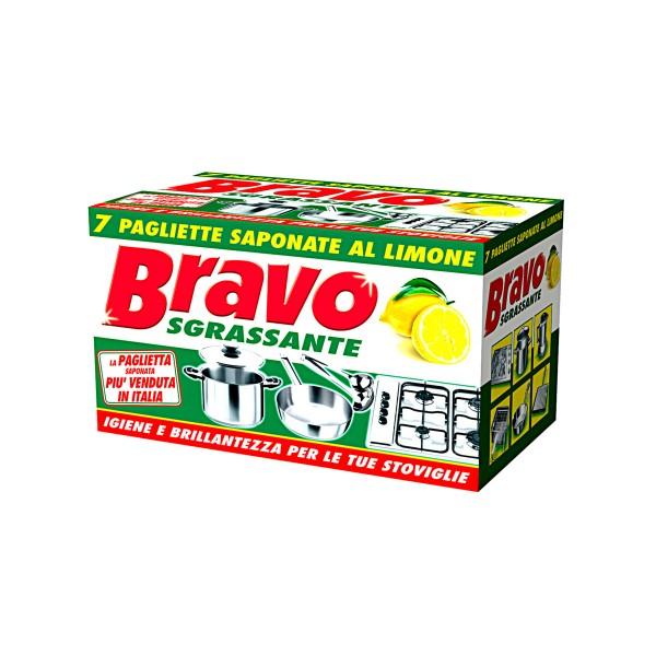 BRAVO PAGLIETTA SAPONATA LIMONE 7 PZ.   , SPUGNE PIATTI E CUCINA/PANNI SPUGNA, S022943, 291