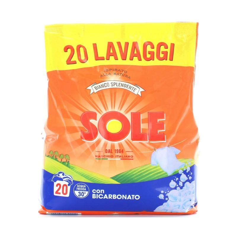SOLE DETERSIVO BUCATO LAVATRICE RICARICA POLVERE BIANCO SPLENDENTE ULTRA 20 MISURINI 1300 Grammi