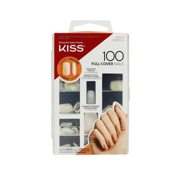 KISS BOX 100 UNGHIE ARTIFICIALI BIANCHE CORTE, PUNTA SQUADRATA + COLLA 3 gr FULL COVER SHORT SQUARE, UNGHIE, S143347, 67935