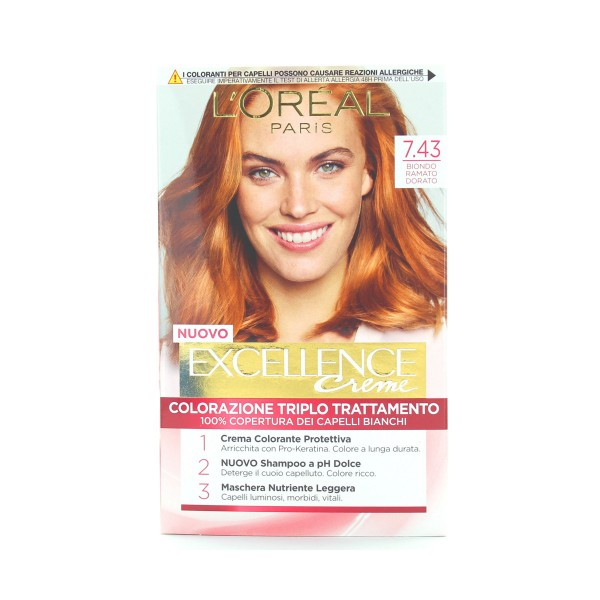 EXCELLENCE CREME COLOR 7,43 BIONDO DORATO RAMATO , COLORANTI, S008104, 69267