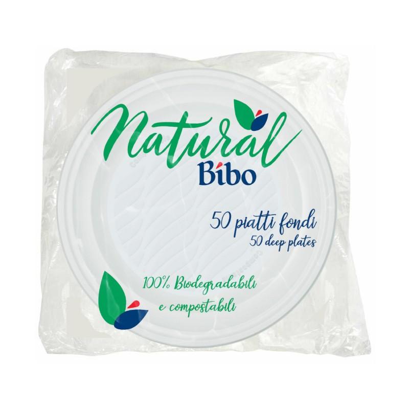 BIBO NATURAL 50 PIATTI FONDI 21,5 CM DIAMETRO BIODEGRADABILI e COMPOSTABILI