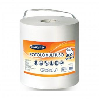 BULKYSOFT ASCIUGATUTTO BOBINA ROTOLO MULTIUSO 800 STRAPPI 2 VELI