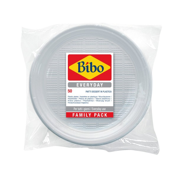 BIBO 50 PIATTI DESSERT IN PLASTICA BIANCA DM 17 CM, ACCESSORI TAVOLA USA E GETTA, S156601, 70313