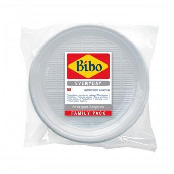 BIBO 50 PIATTI DESSERT IN PLASTICA BIANCA DM 17 CM