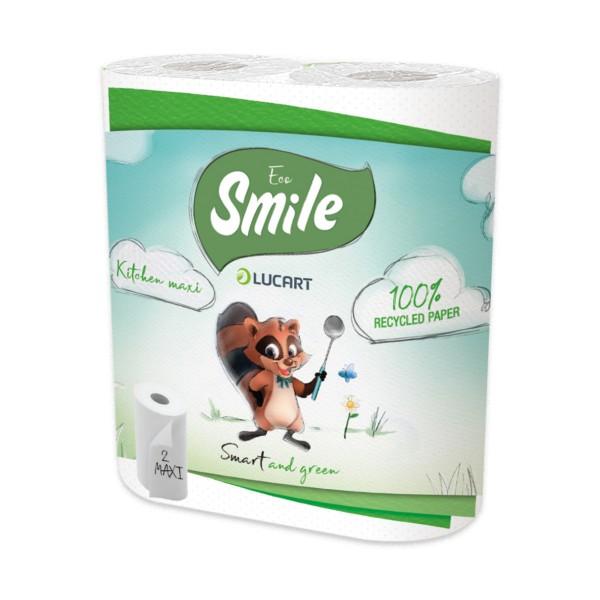 SMILE ECO LUCART ASCIUGATUTTO 2 MAXI ROTOLI 80 STRAPPI 2 VELI , ASCIUGAMANI E CARTA CASA, S155602, 70596