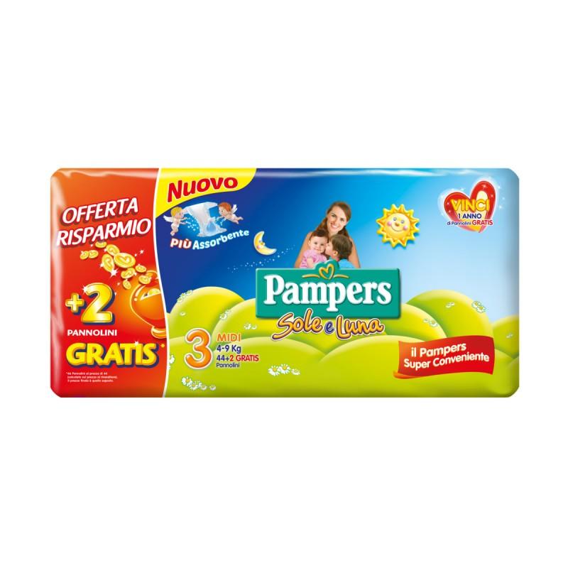 PAMPERS PANNOLINI SOLE E LUNA 3 MIDI 4-9 kg 44+2 PZ PACCO DOPPIO