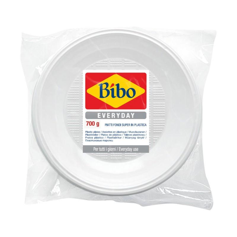 BIBO 42 PIATTI FONDI BIANCHI SUPER IN PLASTICA DM 21,5cm 700 grammi