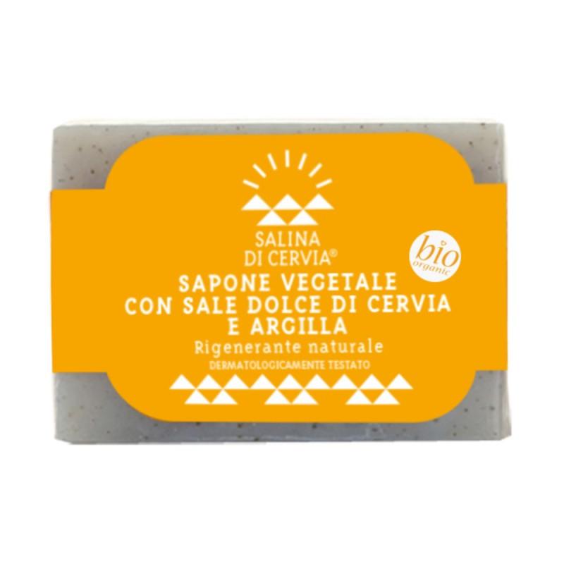 SALINA DI CERVIA SAPONE VEGETALE BIO CON SALE DOLCE E ARGILLA RIGENERANTE 100 grammi