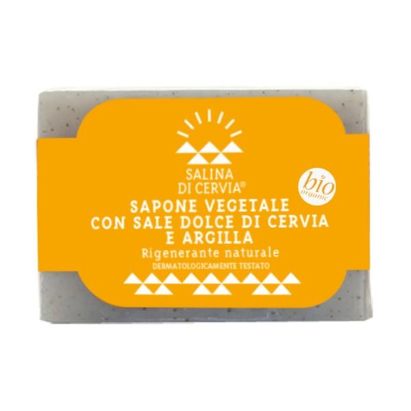 SALINA DI CERVIA SAPONE VEGETALE BIO CON SALE DOLCE E ARGILLA RIGENERANTE 100 grammi, SAPONI, S152325, 71501