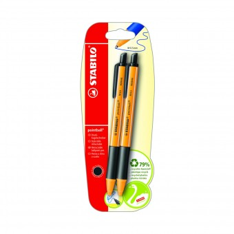 STABILO POINTBALL 2 PENNE A SFERA A SCATTO NERE MINA 0.5 MM IN BLISTER