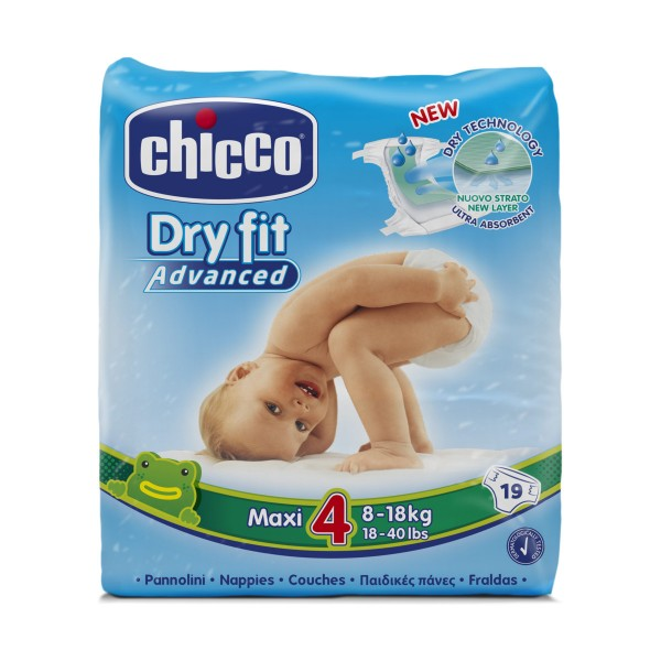 CHICCO DRY FIT ADVANCED 4 MAXI 8-18 KG 19 PZ PANNOLINI, PANNOLINI, S151220, 71924