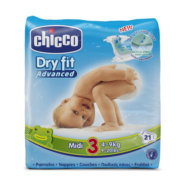 CHICCO DRY FIT ADVANCED 3 MIDI 4-9 KG 21 PZ  PANNOLINI, PANNOLINI, S151219, 71925