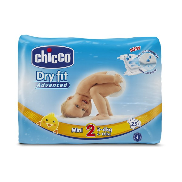 CHICCO DRY FIT ADVANCED 2 MINI 3-6 KG 25 PZ  PANNOLINI, PANNOLINI, S151218, 71926