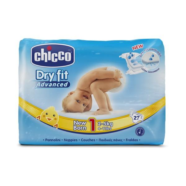 CHICCO DRY FIT ADVANCED 1 NEW BORN 2-5 KG 27 PZ PANNOLINI, PANNOLINI, S151217, 71927