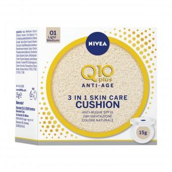 NIVEA VISO Q10 CUSHION 3in1 SKIN CARE ANTI-AGE 01 LIGHT-MEDIUM 15 Grammi