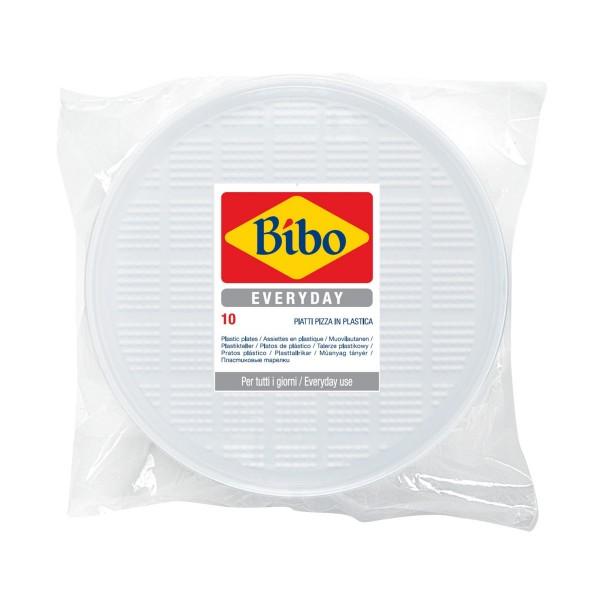 BIBO 10 PIATTI PIZZA IN PLASTICA BIANCA DM 32 CM, ACCESSORI TAVOLA USA E GETTA, S148520, 72651