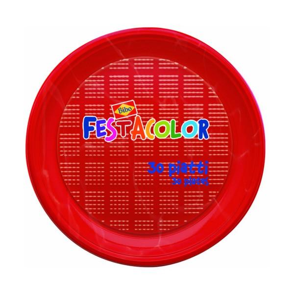 BIBO 30 PIATTI ROSSI ROTONDI IN PLASTICA DM 21,5 CM, ACCESSORI TAVOLA USA E GETTA, S148546, 72708