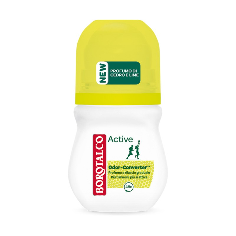 BOROTALCO DEODORANTE ROLL-ON ACTIVE ODOR CONVERTER PROFUMO DI CEDRO E LIME 50 ML