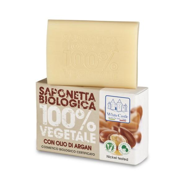 WHITE CASTLE SAPONETTA BIOLOGICA 100% VEGETALE CON OLIO DI ARGAN 125 grammi, SAPONI, S145927, 73324
