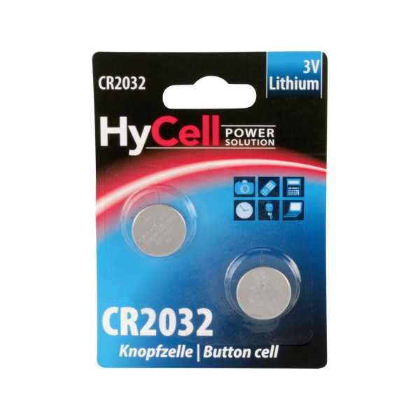 HYCELL BUTTON LITHIUM 3V CR2032 2 PZ. BATTERIA, PILE, S145616, 73395