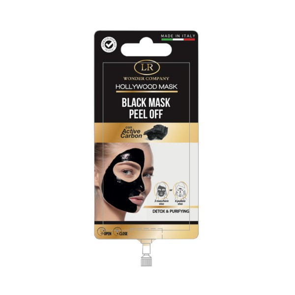 HOLLYWOOD BLACK MASK PEEL OFF ACTIVE CARBON DETOX & PURIFYNG 15 ML, CURA VISO DONNA, S144893, 73581