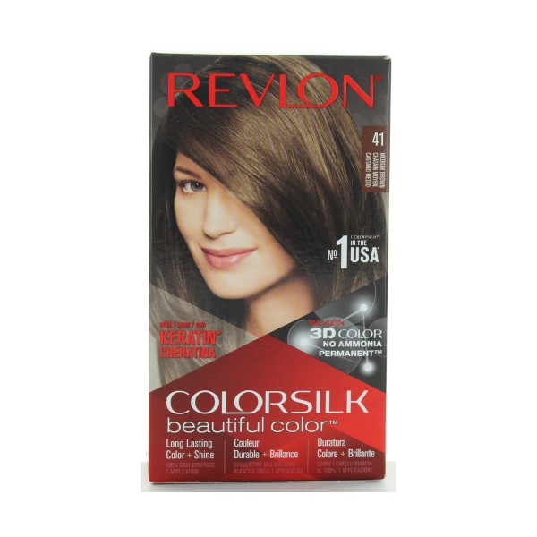 REVLON COLOR SILK PERMANENTE NO AMMIACA 41 CASTANO MEDIO  , COLORANTI, S141601, 74428
