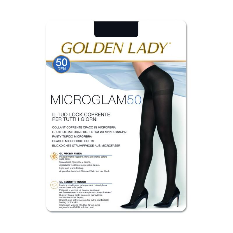 GOLDEN LADY MICROGLAM 50 DEN COLLANT COPRENTE OPACO NERO TAGLIA 4 - LARGE