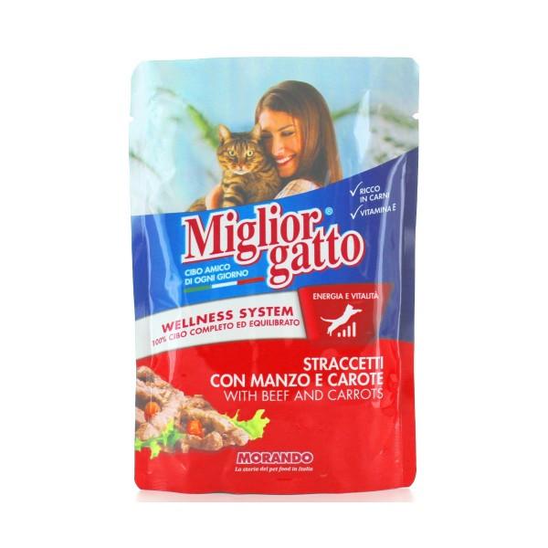 MIGLIOR GATTO STRACETTI CON MANZO e CAROTE BUSTA 100 GRAMMI, NUTRIZIONE, S028252, 74862