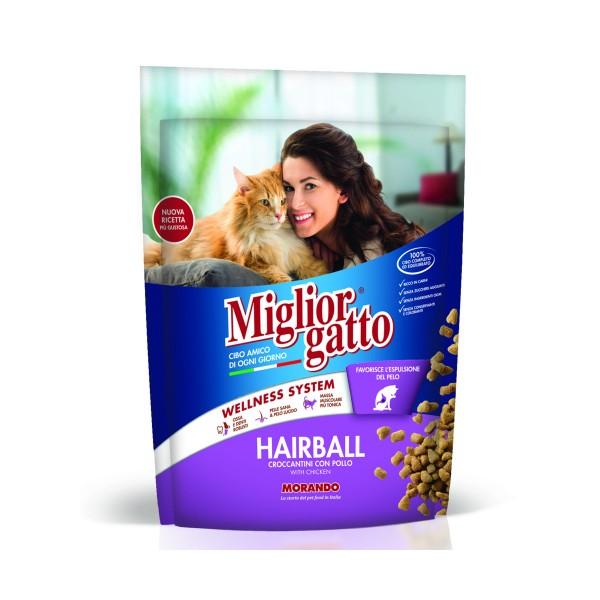 MIGLIOR GATTO HAIRBALL CROCCANTINI CON POLLO BUSTA 400 GRAMMI, NUTRIZIONE, S139119, 74864
