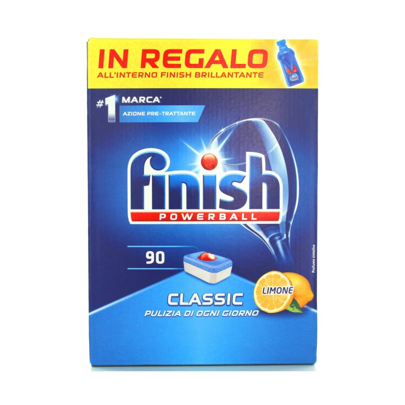 FINISH PASTIGLIE 90 LAVAGGI POWERBALL CLASSIC LEMON+FINISH BRILLANTANTE ALL'INTERNO