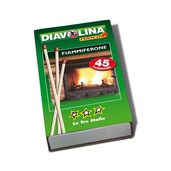 DIAVOLINA FIAMMIFERONE 45 FIAMMIFERI LE TRE STELLE, ACCENDIFUOCO, S130464, 76145
