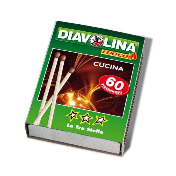 DIAVOLINA CUCINA 60 FIAMMIFERI LE TRE STELLE, ACCENDIFUOCO, S130463, 76147
