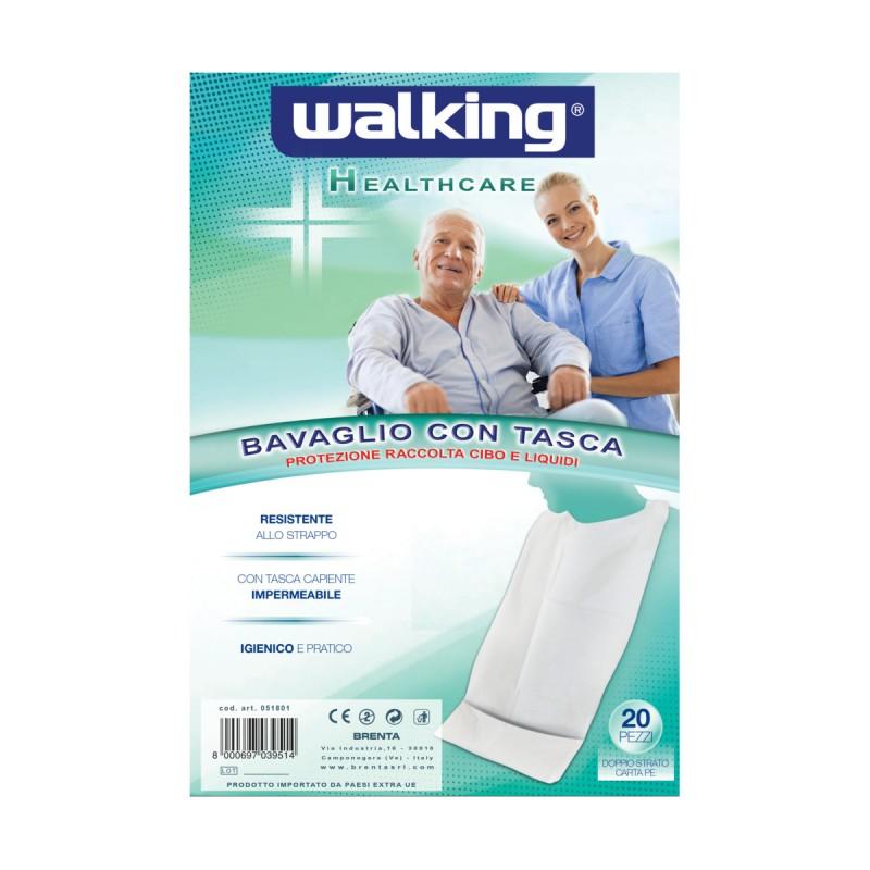 WALKING BAVAGLIO IGIENICO CON TASCA IN CARTA PE DOPPIO STRATO 20 PEZZI