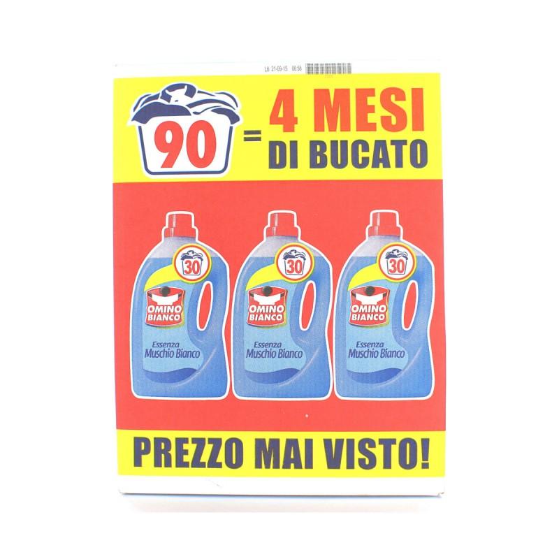 OMINO BIANCO DETERSIVO BUCATO LAVATRICE LIQUIDO MUSCHIO BIANCO PACCO TRIPLO 90 LAVAGGI TOTALI - 3 x 1500ml