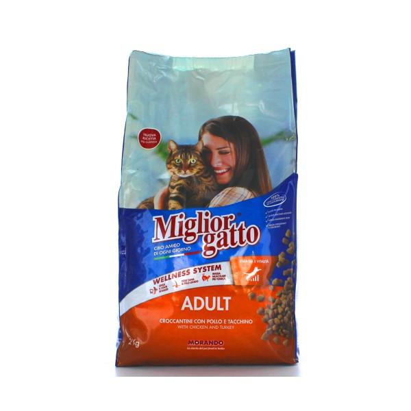 MIGLIOR GATTO ADULT CROCCANTINI POLLOeTACCHINO SACCO 2 KG, NUTRIZIONE, S089210, 78663