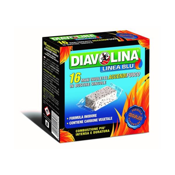 DIAVOLINA LIGNITE 16 MAXI TAVOLETTE IN BUSTINE SINGOLE, ACCENDIFUOCO, S073847, 78832