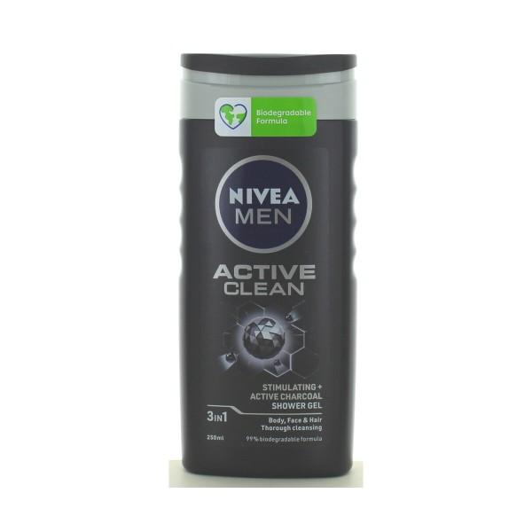 NIVEA FOR MEN DOCCIASCHIUMA GEL SHAMPOO ACTIVE CLEAN 250 ML, BAGNO/DOCCIA SCHIUMA, S107943, 80511