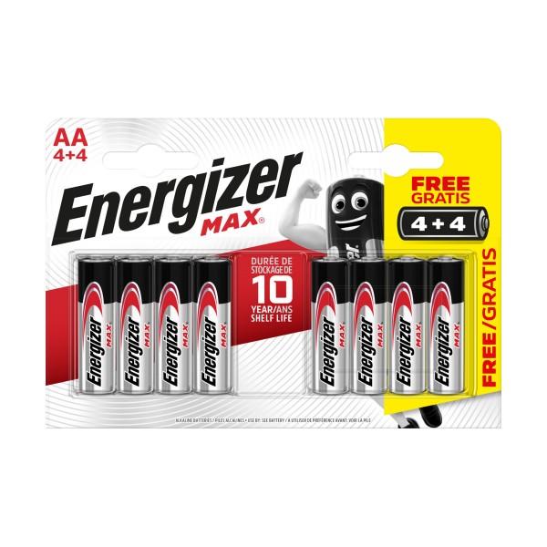 ENERGIZER AA STILO 1,5V MAX ALKALINE BLISTER 4+4 PZ , PILE, S147515, 80716