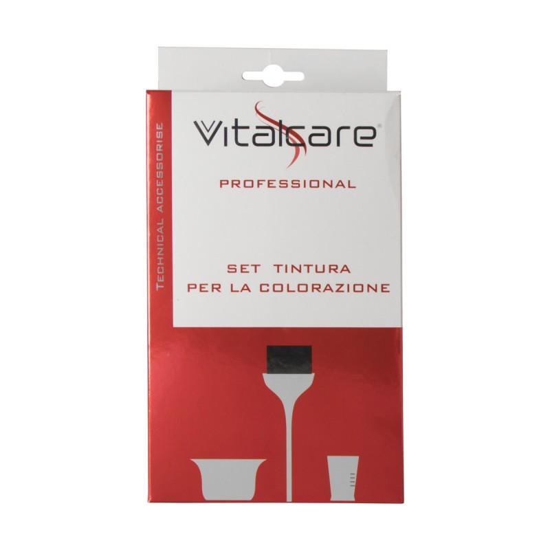 VITALCARE SET 3 PZ PER TINTURA COLORAZIONE CAPELLI PROFESSIONAL (CIOTOLA+MISURINO 135 ML+PENNELLESSA)