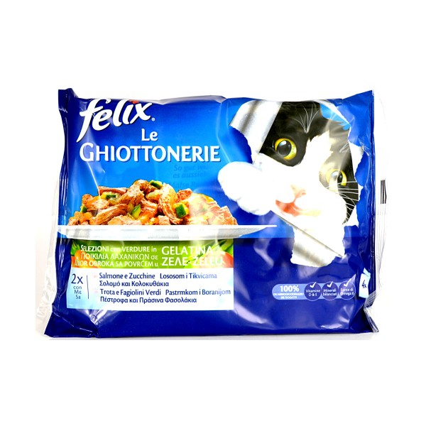 FELIX GATTI LE GHIOTTONERIE SALMONE-ZUCCHINE E TROTA-FAGIOLINI BUSTE 4x100 GRAMMI , NUTRIZIONE, S114096, 81199