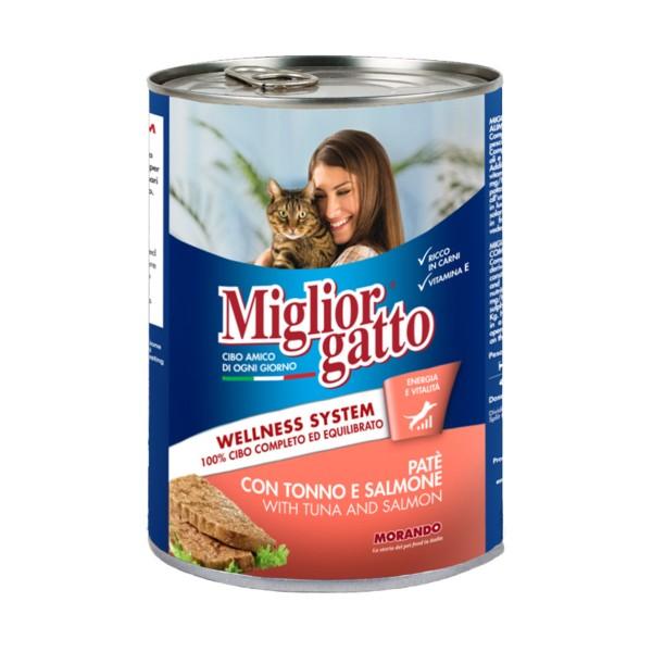 MIGLIOR GATTO PATE' TONNO e SALMONE LATTINA 400 grammi , IGIENE, S027647, 81239