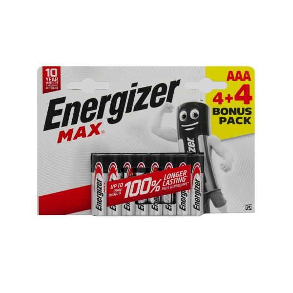 ENERGIZER AAA MINISTILO 1,5V MAX ALKALINE BLISTER 4+4 PZ, PILE, S147516, 81524
