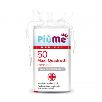 PIUME 50 MAXI QUADROTTI MEDICALI 100% COTONE IDROFILO IN BUSTA