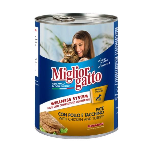 MIGLIOR GATTO PATE' POLLO e TACCHINO LATTINA 400 grammi , NUTRIZIONE, S158176, 82433