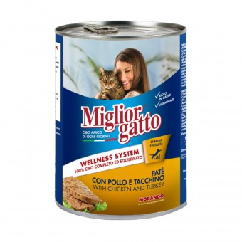 MIGLIOR GATTO PATE' POLLO e TACCHINO LATTINA 400 grammi