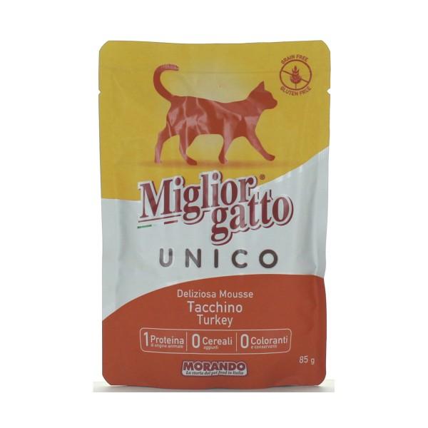 MIGLIOR GATTO UNICO 100% TACCHINO DELICATA MOUSSE BUSTA 85 GRAMMI   , NUTRIZIONE, S139133, 82876