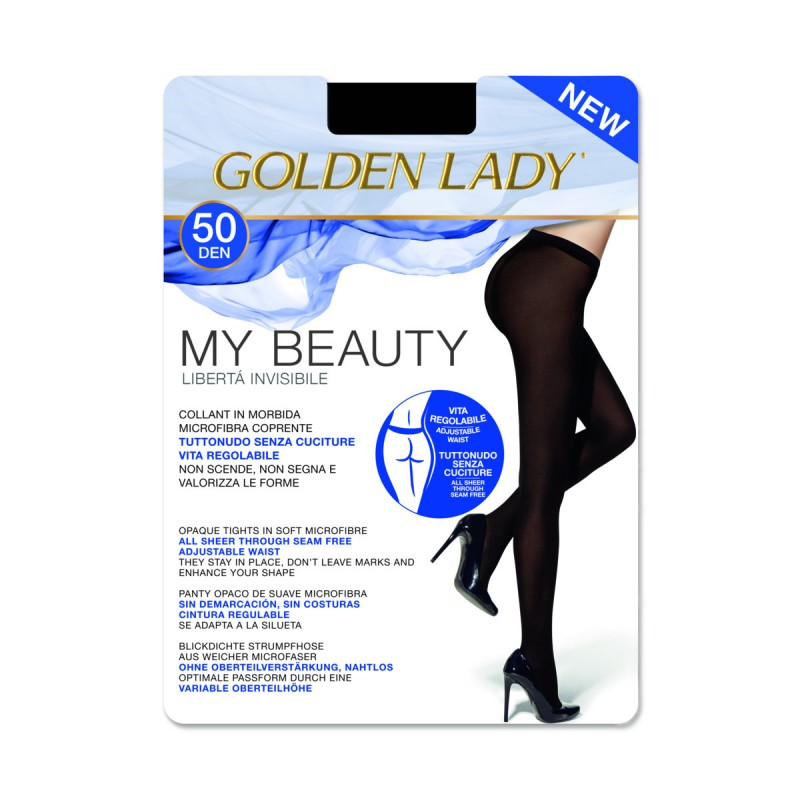 GOLDEN LADY MY BEAUTY 50 DENARI COLLANT COPRENTE SENZA CUCITURE NERO TAGLIA 4 - LARGE